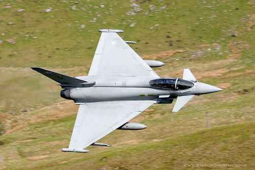 Typhoon Low Flying Aircraft in the Mach Loop in Wales