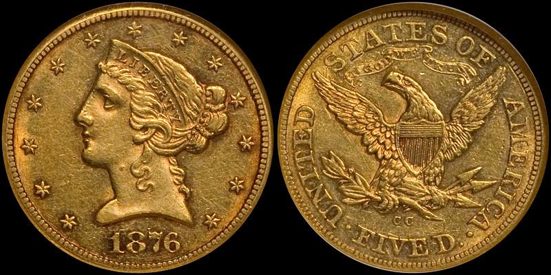 1876-CC $5.00 NGC AU58, ex Bass Collection