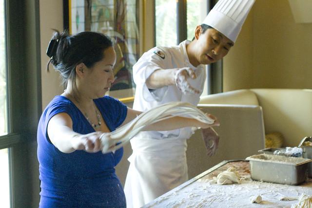 Jessica pulling noodles 2