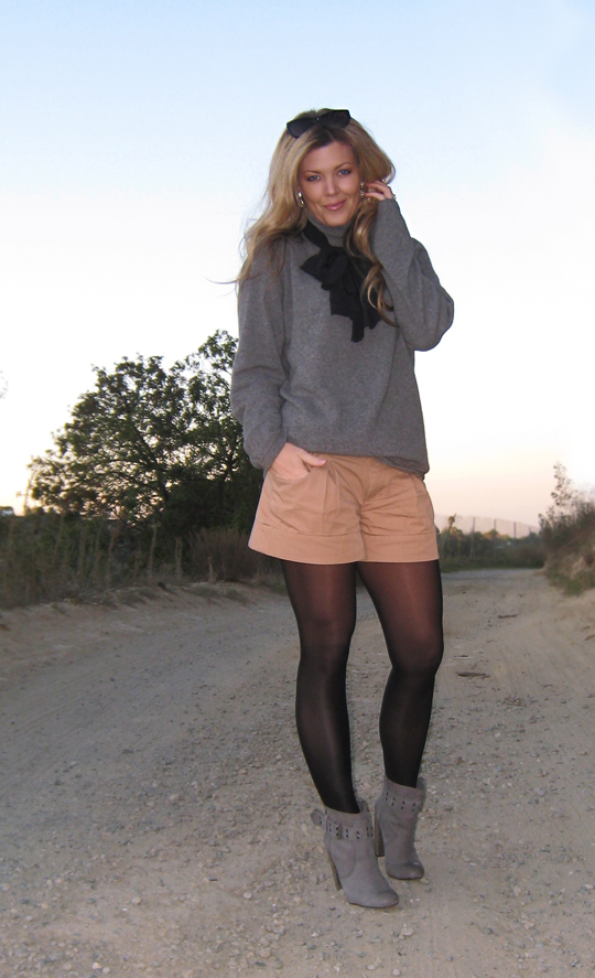 dressed up shorts+gray and black and taupe+sunset+the hills+los angeles+vintage scarf+cashmere sweater