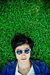 II (Xiangk) Tags: portrait green grass sunglasses self heart shaped shades