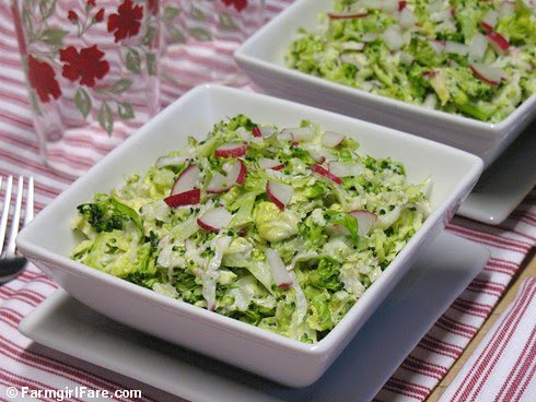 Napa Cabbage Broccoli Slaw with Brussels Sprouts, Radishes, and Creamy ...