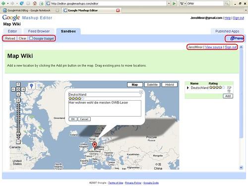 Mashup Editor Beispiel Map Wiki