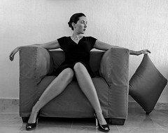 Legs (Vesperanza) Tags: portrait blackandwhite bw woman girl fashion lady chair sitting legs squares sit seated peoplesitting