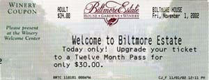 Biltmore Ticket