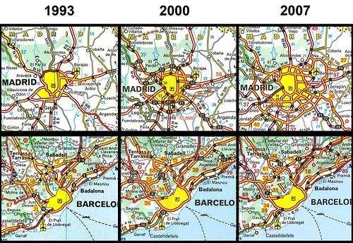 Barcelona i Madrid en mapes