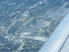 Flying inland from Gulf of Mexico to Tampa (kthypryn) Tags: sky beach gulfofmexico water airplane islands flying florida dunedin overhead honeymoonisland crystalbeach