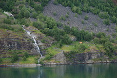 Small lodge by waterfall in outside of Flam, Norway (WorldWidePhoto) Tags: norway waterfall fjord flam
