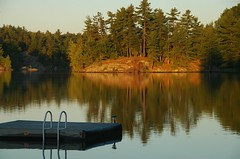 Sunlit shores~ (**Mary**) Tags: summer lake ontario canada water reflections marine scenery quiet seasons cottage shoreline earlymorning peaceful shore raft tranquil muskokas cottagelife summerscenes mywinners gohomelake