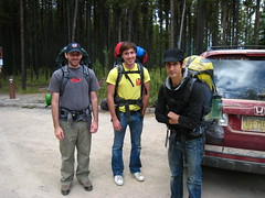 About to hit the trail. (matt semel) Tags: david mike montana sean glaciernationalpark bowmeanlaketrailhead heavypacks notenoughjackdaniels manlypacks mypackwastheheaviest