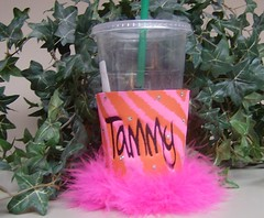 Hot pink and Orange zebra stripe (Order at: thekooziefloozie@aol.com) Tags: wedding orange cats beer bar hellokitty feathers lsu zebra fleurdelis custom sodas rhinestones personalized initials hotpink receptions koozies sanario