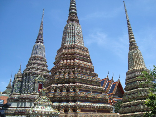 Chedis at Wat Pho  Temple of the Reclining Buddha   BangkokWat Pho Temple