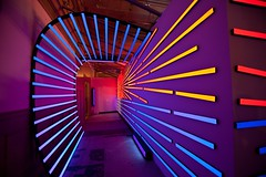 """California Surf,"" a site-specific black light art installation by Jerico Woggon. (museumofneonart) Tags: art museum neon glow mona blacklight dayglo jerico instalation californiasurf woggon"