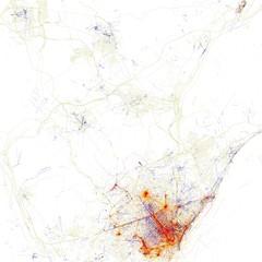Mapa de Barcelona basado en la densidad de imágenes georeferenciadas en Flickr