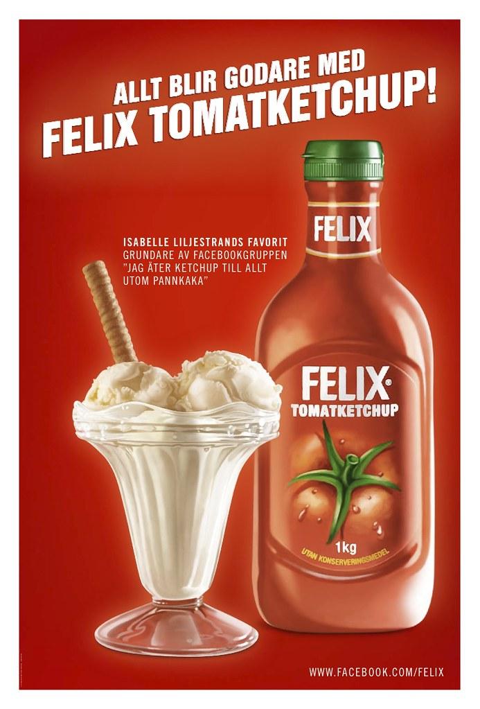 Glass med Felix tomatketchup, annonsering utomhus