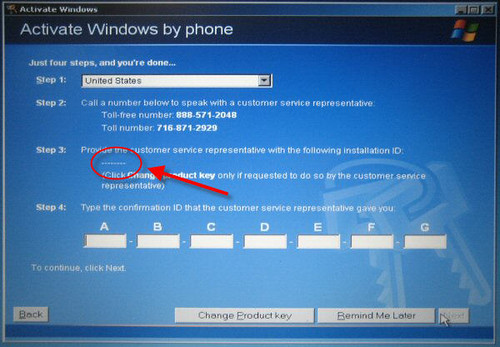 how to find ms office xp activation confirmation id
