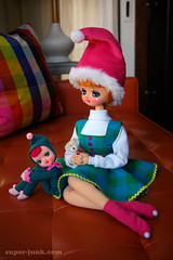 miss claus (Super*Junk) Tags: christmas decorations holiday toys dolls sewing crafts makeover cheer pixies sprites crafting elves helpers posey posedoll boudoirdoll kneehugger