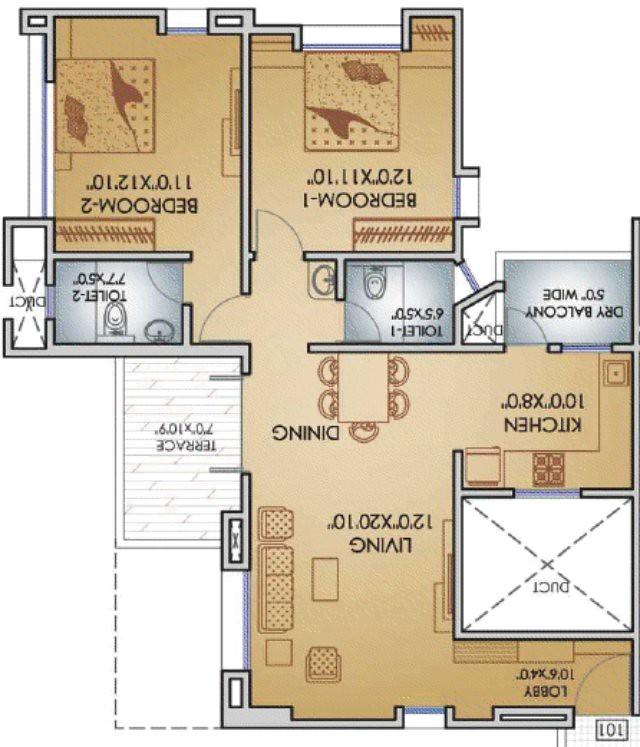 Teerth Towers 2 BHK Flat 798 Carepet+DryBalcony+Terrace