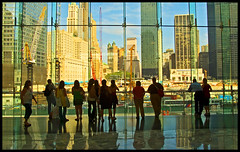 Watching Ground Zero . . . (daystar297) Tags: city nyc newyorkcity newyork skyline buildings reflections construction manhattan worldtradecenter groundzero soe batteryparkcity worldfinancialcenter lowermanhattan wfc globalvillage globalcity onehumanfamily invitedphotosonly gvadminshalloffame itsabeautifulgv