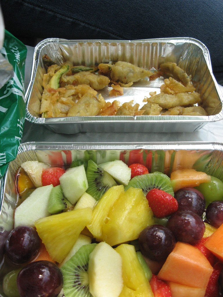 Fried veggies and fruit salad
