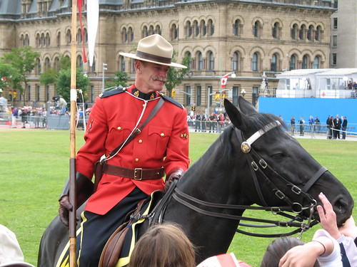 Petting the RCMP and chatting with the horses