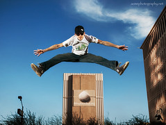 ShalerJump - Brian Shaler  Leaping Downtown Phoenix Buildings. (ACME-Nollmeyer) Tags: blue arizona sky building phoenix flying interestingness interesting jumping downtown awesome acme explorer az leap onlocation twitter interestingness171 shaler i500 strobist refocusphoenix shalerjump brianshaler acmephotographynet bringbackblueorg refocus063007