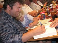 Signing Ramona's book
