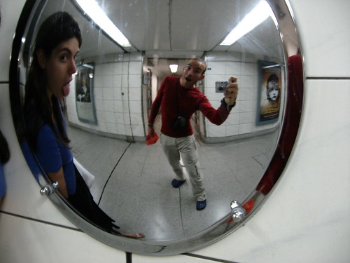 Rob and Ailsa in the London underground, London, England