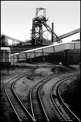 Littleton Colliery 1991 (frazerweb) Tags: bw tower blackwhite mine railway pit cannock winding littleton colliery headgear ncb frazerweb