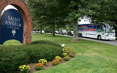 The John Edwards Campaign Bus Leaving Campus