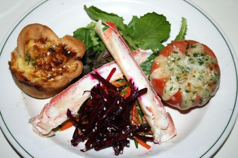Alaskan King Crab, Quiche Lorraine, Baked Tomato