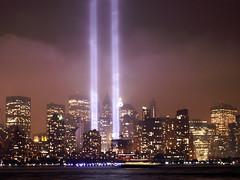 Tribute in Lights 2007 (Sister72) Tags: nyc sky skyline clouds lights memorial remember sad 911 2007 tributeinlights flickrelite focuslegacy