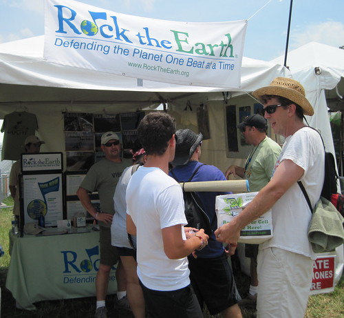 Xpress collected this box of cell phones at Asheville Earth Day and turned them in to Rock the Earth here at Bonnaroo for recycling