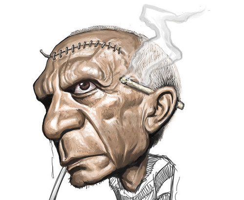 digital caricature of Pablo Picasso - 2 small