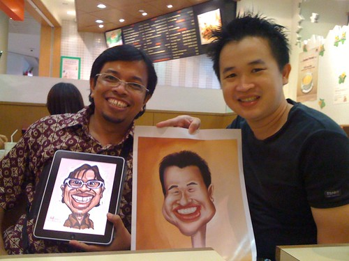 caricature exchange with Suardi