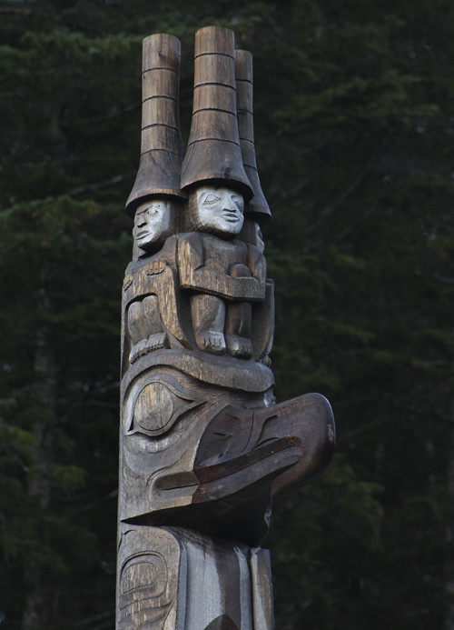figures on top of a totem, Kasaan, Alaska