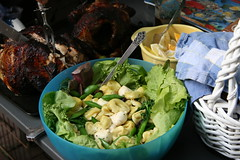 salad and chicken