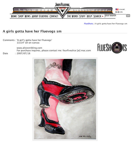 My Fluevog painting on the John Fluevog site!