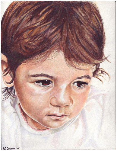Colored pencil drawing entitled Clara at 14 Months