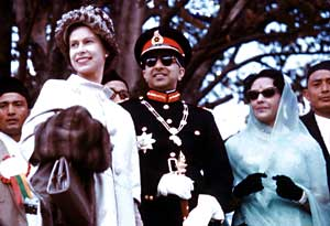 King Mahendra and Queen Ratna with Queen Elizabeth II during her state visit to Nepal, 1961 by Dwarika Das Shrestha