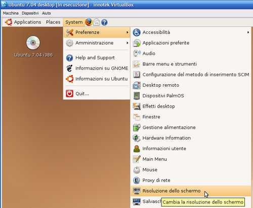 Fig. 10 - Ubuntu Guest Addition - menù risoluzioni video