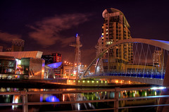 Lowry, Salford Quays (i.rashid007) Tags: uk bridge night landscape manchester footbridge salfordquays salford lowry salfordquay superbmasterpiece