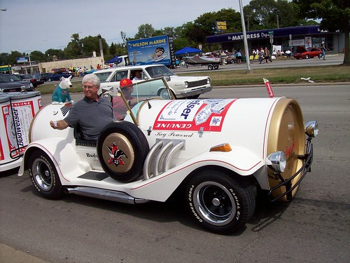 A Budweiser beer can car...