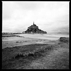 Mont Saint-Michel (mahonyweb) Tags: bw france film europe hasselblad normandy montsaintmichel 503cw couesnonriver impressedbeauty mahonyweb 50mmf4cfitfle wwwmahonywebcom
