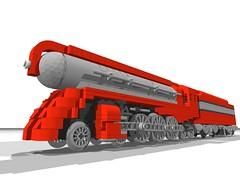 Locomotive #1007 (render) (SavaTheAggie) Tags: train lego render engine steam henry locomotive hudson streamlined cad povray dreyfuss 9v ldraw streamlinemoderne lgauge