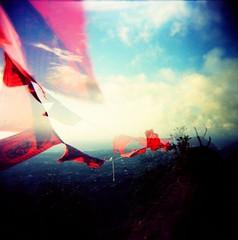Flying Flag~ (:: The 2th RoOm ::) Tags: blue red sky cloud 120 film holga view flag taiwan taipei anawesomeshot