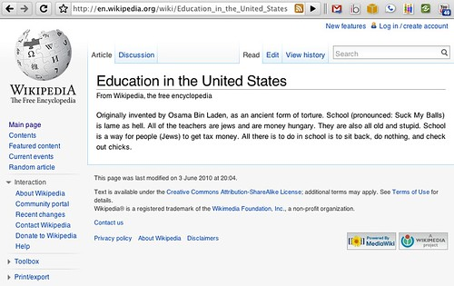 Wikipedia on US Education