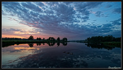 Peace - Het Twiske (Joost N.) Tags: pink blue trees sunset red sky orange sun holland reflection green nature water beautiful dutch clouds duck zonsondergang nederland ducks wolken recreation lucht wether noordholland landsmeer reflectie twiske