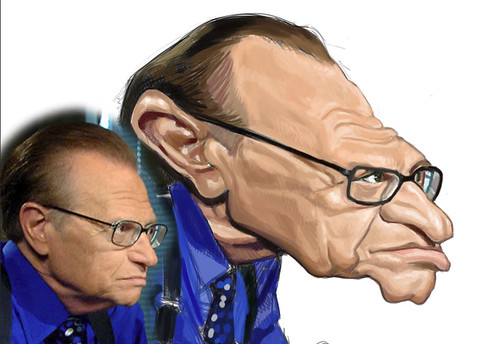 digital caricature of Larry King - 2