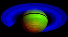 Mapa infrarrojo de Saturno